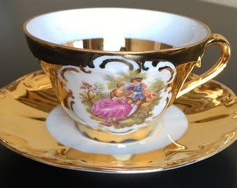 Vintage 22 Karat Gold Trim Tea Cup and Saucer,  RZB Tea Cup and Saucer