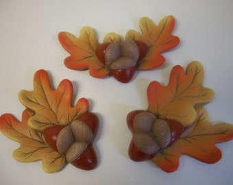 ceramic refrigerator magnets fall leaves acorns set of three,Halloween