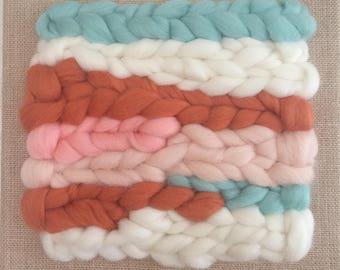 Woolly weaving on burlap canvas