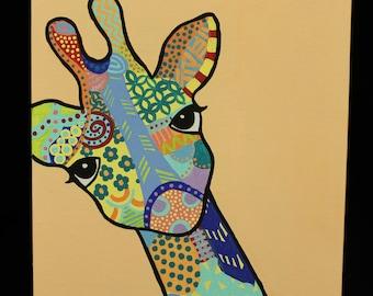 Rainbow Giraffe Painting