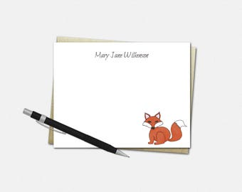 Personalized Note Cards - Fox Note Cards - Personalized Stationery | Set of 10 Flat Note Cards - Custom Note Card Set