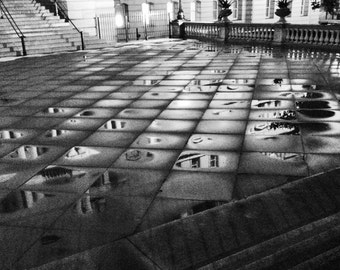 Black and White Fine Art Photography // Puddle Reflections, Eisenhower Building, Washington DC // Square Giclée Print
