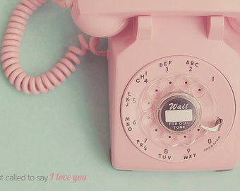 Rotary Phone Art Print, Pink Rotary Phone, Vintage Rotary Phone, Shabby Chic Art, Old Fashion Phone, Pink Decor, Mint Green Decor, Room Deco