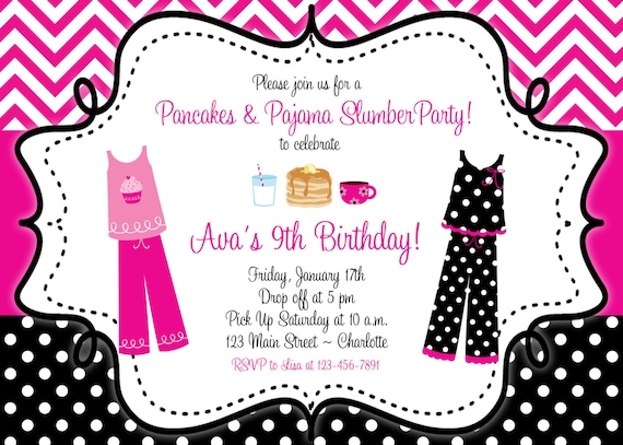 Pancakes and pajama birthday invitation slumber birthday filmwisefo