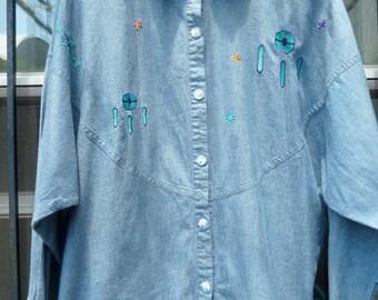 vintage dream catcher dolman blouse L