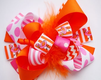 boutique FUNKY fun orange and hot pink FLAMINGO hair bow clip