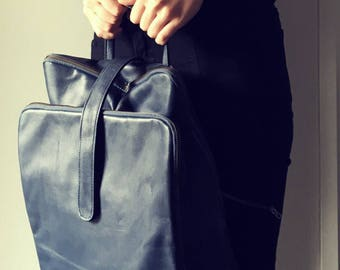 Leather backpack handbag,handmade and able to be customised. Lots of pockets, central section. Backpack bag, computer work bag