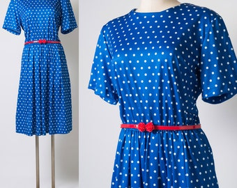 80s Dress, Vintage Polka Dot Dress, Blue Polka Dot Dress,Vintage Blue white dress,Vintage secretary dress,80s day dress,80s polka dot - L/XL