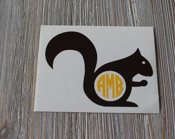 Squirrel Monogram Car Decal - Monogram Squirrel Car Decal - Monogram Car Decal - Monogram Decal - Car Decal - Squirrel Decal - Squirrel