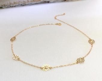 Bohemian Choker, Gold Filled Flower Choker, Sterling Silver Flower Choker, Boho Choker, Flower Choker Necklace