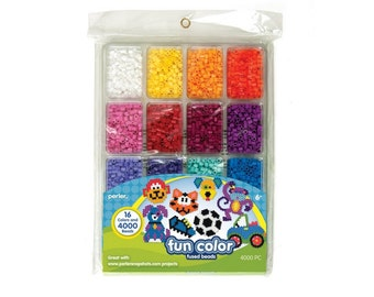 Perler Fused Bead Tray Includes 4000 Colorful Beads, 16 Bright Colors For Beading Projects, Create Your Own Beading Accessory Projects