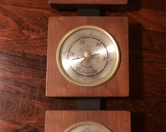 Vintage AIRGUIDE Mid Century Modern Danish Weather Station Thermometer Barometer