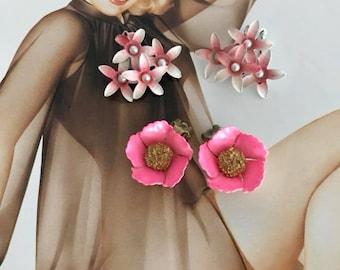 Lot of Two Pair of Enamel over Metal Flower Earrings -- Clip On -- 1950's