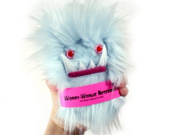 Children's monster notebook, Worry Woolie a pink blue, fuzzy, magical book