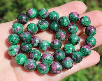 Ruby Zoisite multicolor 10 MM round beads 4. *.