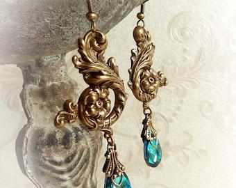 Ocean blue Swarovski earrings aged brass blue Swarovski crystal earrings teardrop bridal earrings victorian dangling antiqued brass earrings