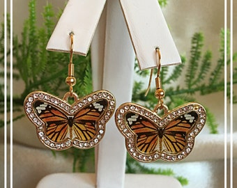 Beautiful Monarch Butterfly Pierced Earrings with Swarovski Crystals, Gifts for Her