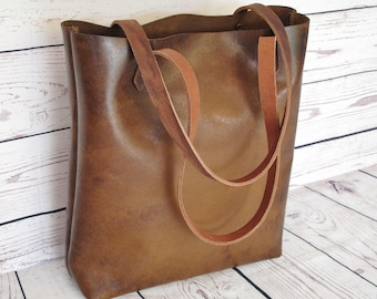 Toffee brown leather tote, distressed leather bag, leather purse, leather tote bag, leather shopper, leather handbag, brown shoulder bag