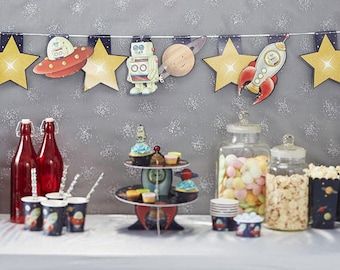Space Adventure Party Bunting,Kids Party Decor, Rocket Ship Party Bunting, Birthday Party Decorations,  Space Themed Party Decorations