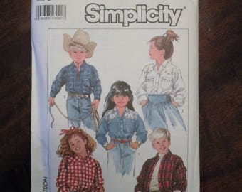 1987 Used Vintage Simplicity Pattern 8368 Child's Loose-Fitting Shirt Size 5