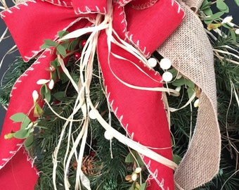 Red and burlap BOW, Red Country Style Christmas Bow, Christmas Bow, Christmas wreath bow, Christmas wreath decor, Farmhouse Bow