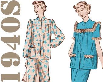 Vintage Pajamas Pattern ADVANCE 4522 sz 12 b 30 1940s Pajamas Womens Pajamas Womens Sleepwear Pattern Teen Pajamas Retro Pajamas