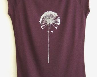 Allium bamboo organic cotton womens T shirt eggplant