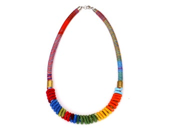 Colorful And Unique Statement Rope Necklace For Women, Textile Art Necklace, One Of A Kind Jewelry