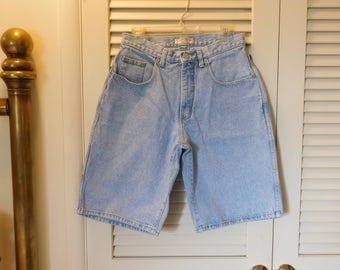 Vintage Mens Guess Jean Shorts Highwaist USA Made Light Blue Denim Unisex 30x11 LMwUnA6
