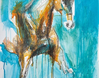 Original Mixed Media Painting of a Dressage Horse, Contemporary Original Fine Art, Animal, Equine Art, Expressive and Gestural Painting