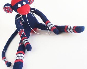Atlanta Braves - Sock Monkey - MLB - Baseball Sock Monkey - Navy Sock Monkey - Blue Sock Monkey - Man Cave Gift - Baseball Gift