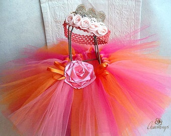 Fairy Princess 18mo-2T Pink and Orange Tutu Set, Fairy Princess Tutu with  tiara, Dress-up  Princess Tutu, Tutu with Flower