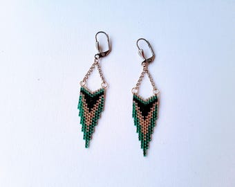 Earrings dangle fancy black, silver and turquoise