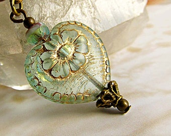 Aqua heart necklace Victorian jewelry Czech glass pendant necklace