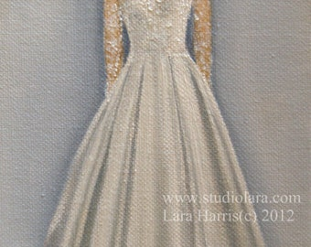 CUSTOM Wedding Dress Illustration Painting in OIL by LARA 11x14 Princess Kate Middleton Maid of Honor Mother of the Bride