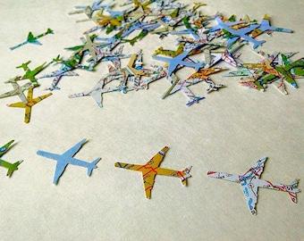 Atlas Map Airplane Confetti, Plane Confetti, Destination Wedding Confetti, Travel Wedding, Honeymoon Decoration, Wedding Decoration