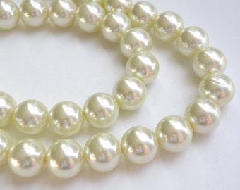 Ivory glass pearl beads round 16mm full strand 7839GB