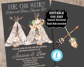 Teepee Fox Gender Reveal Invitation Baby Shower Invitation emplate, Editable, Boho Tribal Boy or Girl, He or She Teepee Baby Shower  035