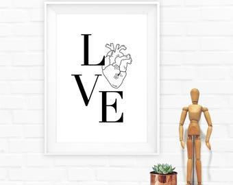 Love print, Love poster, Anniversary print, Love quote print, Love printable,Wedding Gift
