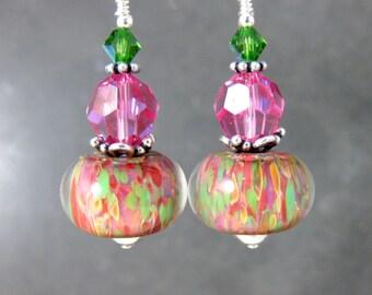 Colorful Glass & Crystal Dangle Earrings, Pink Green Red Boro Lampwork Earrings, Summer Boho Earrings, Bohemian Jewelry, Lampwork Jewlery