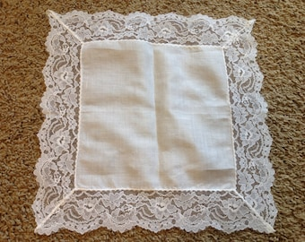 Beautiful White Lacey handkerchief Wedding Hankie