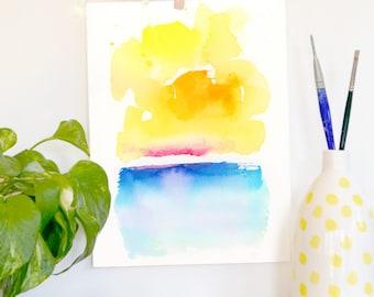 Watercolor Print, Sea, Ocean, Water, Landscape, Modern Art, Minimalist, Sky, Clouds, sunset, Whimsical, Bohemian