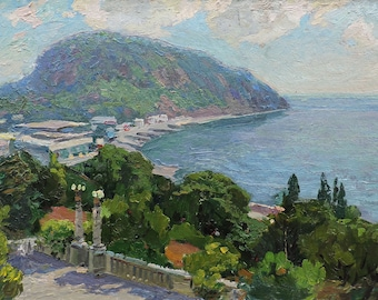IMPRESSIONIST VINTAGE ORIGINAL Oil Painting by A.Solodovnikov, Seascape, Marine,Mountain landscape, Seaside art, Coastal painting,Soviet art