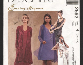 Plus Size Sewing Pattern McCalls 2592 Mother of the Bride Groom Formal Dress and Jacket Size 20 22 24 Bust 42 44 46