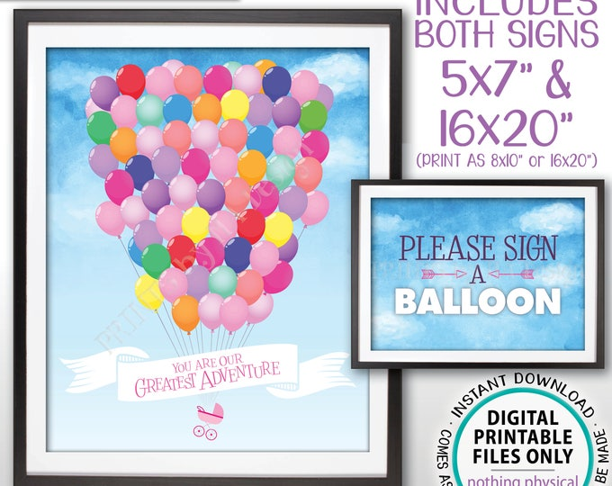 Baby Shower Guestbook Alternative Sign, Please Sign a Balloon, You Are Our Greatest Adventure, Two Instant Download Digital PRINTABLE Files
