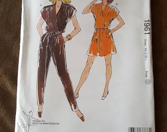 VINTAGE Kwik Sew 1961 Misses Jumpsuit XS-L (1989)