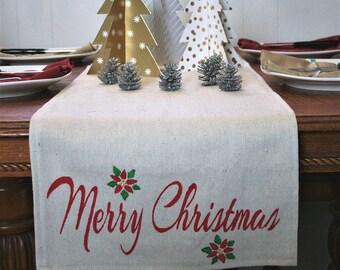 Table Runner, Christmas Table Runner, Merry Christmas Home Decor, Christmas Table Decor, Winter Home Decor, Rustic Home Decor, Home Decor