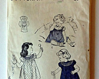 Butterick 4435 Toddlers dress Size 1 circa 1940's Vintage