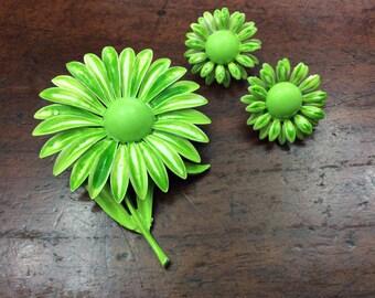 Lime Enamel Flower Daisy Brooch And Clip Earrings
