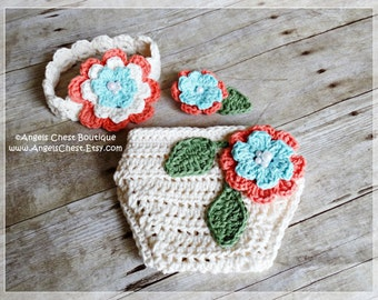 Crochet Diaper Cover and Headband with Flowers PDF Pattern Sizes Newborn to 12 months - Boutique Design - No. 67 by AngelsChest